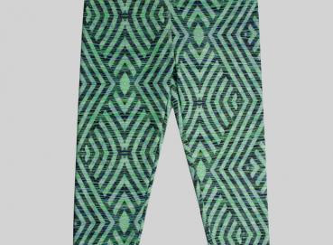 WOMEN'S GREEN PRINT LEGGINS Image