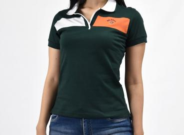 Women's pine green vancouver polo shirt Image