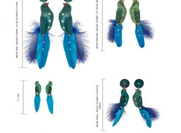 TILE BIRD EARRINGS WITH FEATHERS Image