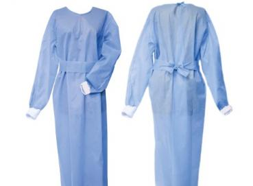 Long-sleeved gown with RIB on the cuff- disposable made of non-woven fabric. Not sterile Image