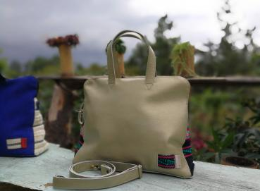 ETHNIC BAG WITH HANDMADE FABRIC ON THE SIDES Image