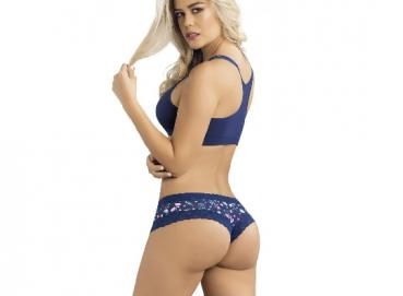 1. Plain Color Bralette with Stappy Racerback. 2. Printed Fabric Thong with Lace Border and Bow