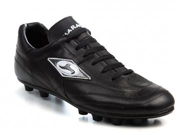 Black leather soccer shoes Image