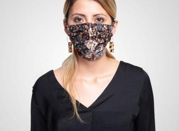 Black Floral Face Mask - Fashiontex Image